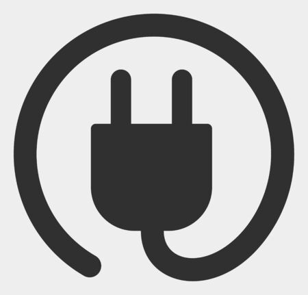 Electric plug raster icon. Illustration contains flat electric plug iconic symbol isolated on a white background.