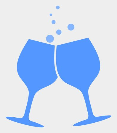 Alcohol glasses cheers raster icon. Illustration contains flat alcohol glasses cheers iconic symbol isolated on a white background.