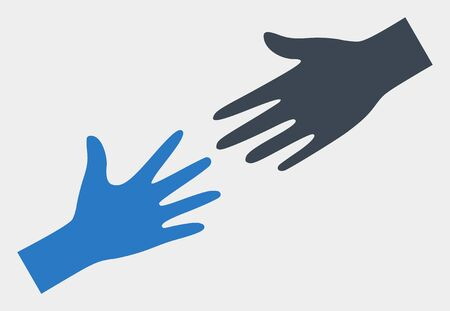 Help hand raster pictograph. Illustration contains flat help hand iconic symbol isolated on a white background.