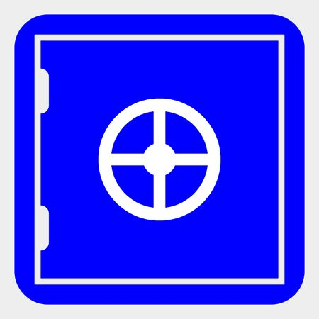 Banking safe raster icon. Illustration contains flat banking safe iconic symbol isolated on a white background.
