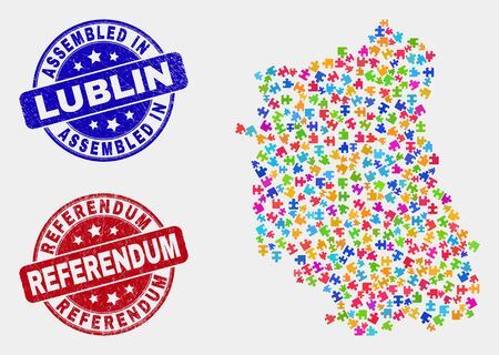 Puzzle Lublin Voivodeship map and blue Assembled watermark, and Referendum grunge seal stamp. Colored vector Lublin Voivodeship map mosaic of puzzle components. Red round Referendum badge.