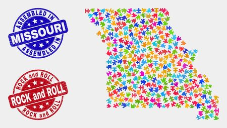 Component Missouri State map and blue Assembled watermark, and Rock and Roll scratched watermark. Colored vector Missouri State map mosaic of plug-in components. Red rounded Rock and Roll badge.
