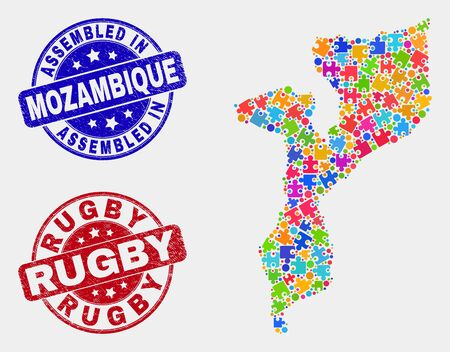 Component Mozambique map and blue Assembled seal stamp, and Rugby grunge seal stamp. Colored vector Mozambique map mosaic of bundle items. Red round Rugby seal.