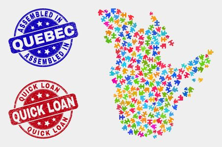 Constructor Quebec Province map and blue Assembled seal stamp, and Quick Loan distress seal stamp. Bright vector Quebec Province map mosaic of bundle items. Red round Quick Loan badge.