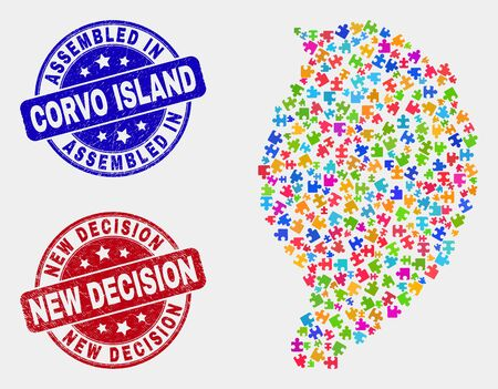 Assemble Corvo Island map and blue Assembled stamp, and New Decision grunge seal stamp. Colorful vector Corvo Island map mosaic of bundle modules. Red rounded New Decision seal.