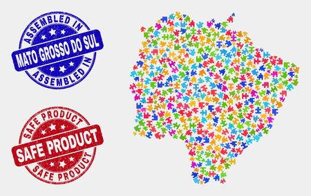 Bundle Mato Grosso do Sul State map and blue Assembled stamp, and Safe Product textured stamp. Bright vector Mato Grosso do Sul State map mosaic of plug-in. Red rounded Safe Product stamp.