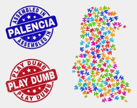 Bundle Palencia Province map and blue Assembled seal stamp, and Play Dumb textured seal stamp. Colorful vector Palencia Province map mosaic of plugin parts. Red rounded Play Dumb stamp.