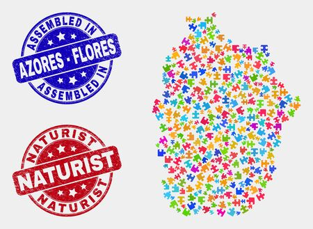 Module Flores Island of Azores map and blue Assembled seal stamp, and Naturist distress seal stamp. Colored vector Flores Island of Azores map mosaic of plug-in connectors. Red rounded Naturist stamp. Illustration