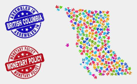 Constructor British Columbia map and blue Assembled seal stamp, and Monetary Policy grunge stamp. Colored vector British Columbia map mosaic of puzzle components. Red rounded Monetary Policy stamp.