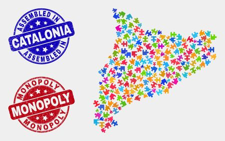Element Catalonia map and blue Assembled stamp, and Monopoly distress stamp. Bright vector Catalonia map mosaic of puzzle items. Red rounded Monopoly stamp. Illustration