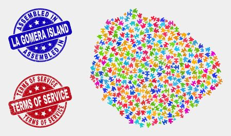Puzzle La Gomera Island map and blue Assembled seal stamp, and Terms of Service distress stamp. Bright vector La Gomera Island map mosaic of puzzle items. Red rounded Terms of Service stamp.
