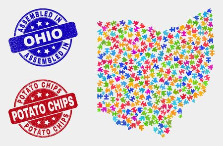 Element Ohio State map and blue Assembled seal stamp, and Potato Chips scratched seal stamp. Colored vector Ohio State map mosaic of plugin bricks. Red round Potato Chips imprint.  イラスト・ベクター素材