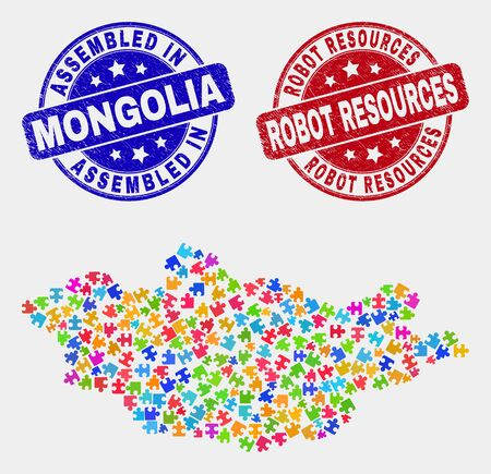 Component Mongolia map and blue Assembled seal stamp, and Robot Resources distress seal. Colorful vector Mongolia map mosaic of puzzle connectors. Red round Robot Resources stamp. 矢量图片