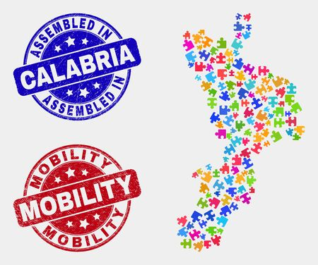 Element Calabria region map and blue Assembled seal stamp, and Mobility scratched seal stamp. Colorful vector Calabria region map mosaic of puzzle items. Red rounded Mobility badge.