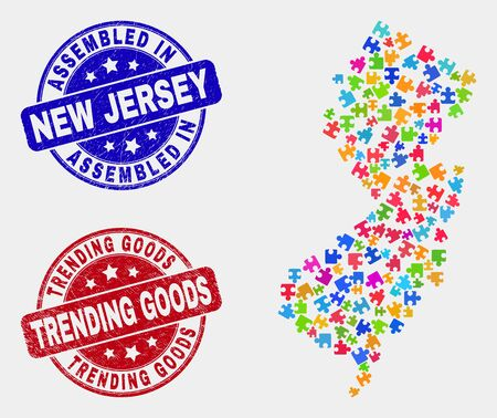 Assemble New Jersey State map and blue Assembled seal stamp, and Trending Goods distress seal stamp. Colored vector New Jersey State map mosaic of puzzle components. Red round Trending Goods seal.