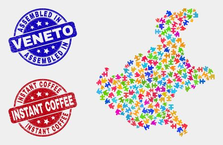 Puzzle Veneto region map and blue Assembled seal stamp, and Instant Coffee textured stamp. Colorful vector Veneto region map mosaic of puzzle elements. Red rounded Instant Coffee seal.