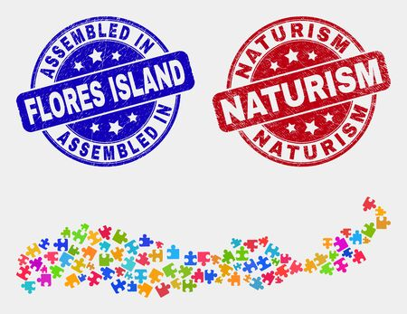 Puzzle Flores Island of Indonesia map and blue Assembled seal stamp, and Naturism grunge seal. Colorful vector Flores Island of Indonesia map mosaic of plug-in modules. Red rounded Naturism stamp.