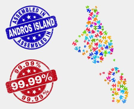 Component Andros Island of Bahamas map and blue Assembled seal, and 99.99% textured seal. Bright vector Andros Island of Bahamas map mosaic of bundle. Red rounded 99.99% seal.  イラスト・ベクター素材