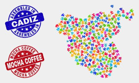 Bundle Cadiz Province map and blue Assembled seal stamp, and Mocha Coffee scratched seal. Colorful vector Cadiz Province map mosaic of bundle connectors. Red round Mocha Coffee badge.