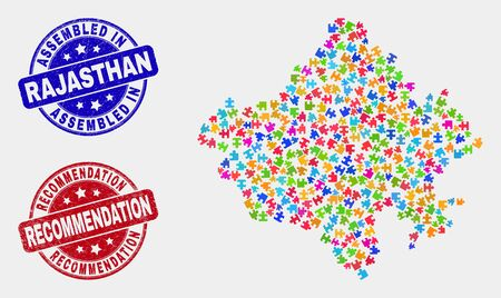 Puzzle Rajasthan State map and blue Assembled seal, and Recommendation scratched seal stamp. Bright vector Rajasthan State map mosaic of puzzle components. Red rounded Recommendation seal.