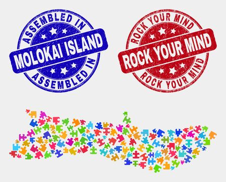 Element Molokai Island map and blue Assembled watermark, and Rock Your Mind distress watermark. Bright vector Molokai Island map mosaic of plug-in bricks. Red round Rock Your Mind imprint. Illustration