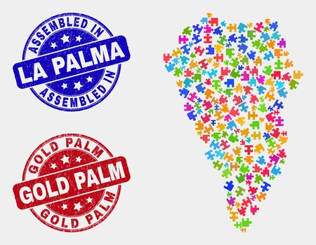 Component La Palma Island map and blue Assembled seal, and Gold Palm scratched seal stamp. Colored vector La Palma Island map mosaic of puzzle connectors. Red rounded Gold Palm stamp.