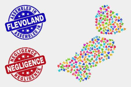 Component Flevoland Province map and blue Assembled seal stamp, and Negligence distress seal stamp. Bright vector Flevoland Province map mosaic of puzzle bricks. Red rounded Negligence stamp.