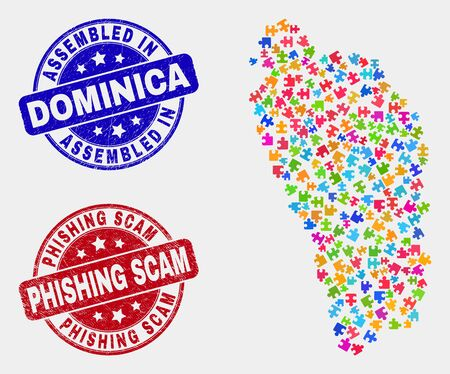 Assemble Dominica Island map and blue Assembled seal stamp, and Phishing Scam scratched seal stamp. Colorful vector Dominica Island map mosaic of bundle components. Red round Phishing Scam stamp.