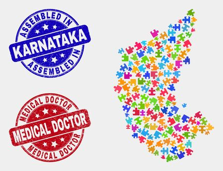 Component Karnataka State map and blue Assembled stamp, and Medical Doctor distress seal stamp. Bright vector Karnataka State map mosaic of bundle elements. Red round Medical Doctor stamp.