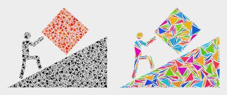 Icono de collage de trabajo absurdo de elementos triangulares que tienen varios tamaños, formas y colores. Ilustración de vector abstracto geométrico del trabajo absurdo. Ilustración de vector