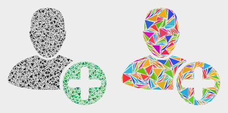 Add user mosaic icon of triangle elements which have various sizes and shapes and colors. Geometric abstract vector illustration of add user. Çizim