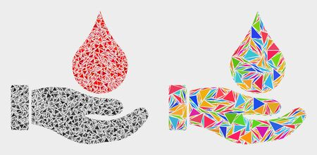 Blood donation hand mosaic icon of triangle items which have variable sizes and shapes and colors. Geometric abstract vector illustration of blood donation hand.