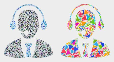 Call center director collage icon of triangle elements which have various sizes and shapes and colors. Geometric abstract vector design concept of call center director. Ilustração