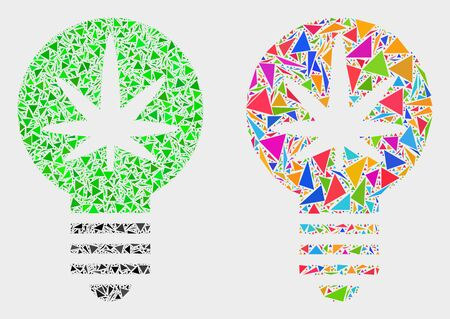 Cannabis innovation bulb collage icon of triangle elements which have variable sizes and shapes and colors. Geometric abstract vector design concept of cannabis innovation bulb.