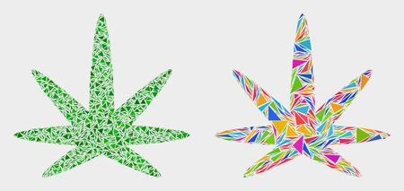 Cannabis leaf collage icon of triangle items which have variable sizes and shapes and colors. Geometric abstract vector illustration of cannabis leaf. Illustration