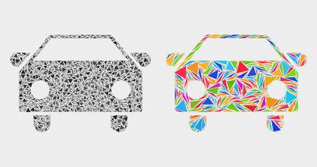 Car mosaic icon of triangle items which have different sizes and shapes and colors. Geometric abstract vector design concept of car. Random triangle items are united into bright colored car mosaic. 일러스트