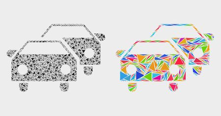Car traffic mosaic icon of triangle elements which have various sizes and shapes and colors. Geometric abstract vector illustration of car traffic.
