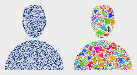 Man mosaic icon of triangle items which have various sizes and shapes and colors. Geometric abstract vector illustration of man.