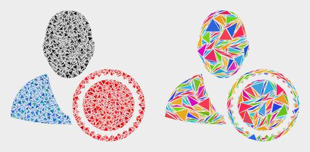 Stamped user mosaic icon of triangle elements which have different sizes and shapes and colors. Geometric abstract vector illustration of stamped user.