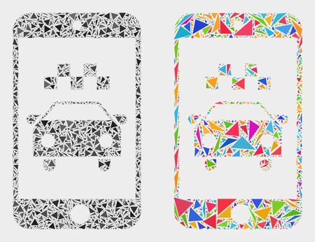 Taxi smartphone application mosaic icon of triangle items which have different sizes and shapes and colors. Geometric abstract vector illustration of taxi smartphone application. Vetores