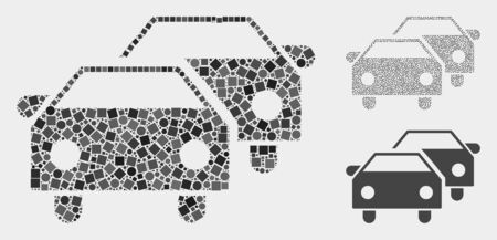Mosaic Car traffic icon united from circle and square items in variable sizes, positions and proportions. Vector circle and square elements are organized into abstract mosaic car traffic icons.