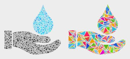 Water offer hand collage icon of triangle items which have different sizes and shapes and colors. Geometric abstract vector illustration of water offer hand.