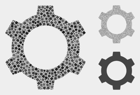 Collage Cog icon constructed from spheric and square items in various sizes, positions and proportions. Vector spheric and square items are grouped into abstract collage cog icons. Illustration