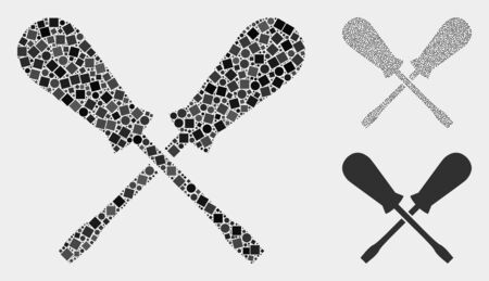 Collage Crossing screwdrivers icon united from spheric and square elements in random sizes, positions and proportions. Illustration