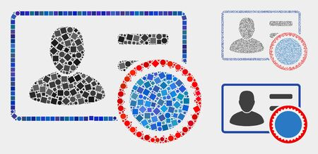Mosaic Stamped user card icon designed from spheric and square elements in different sizes, positions and proportions.