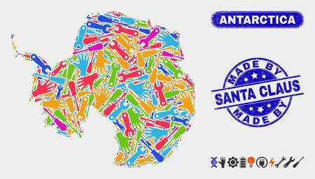 Production Antarctica continent map and blue Made by Santa Claus textured seal. Colored vector Antarctica continent map mosaic of mechanic units. Blue round Made by Santa Claus seal.