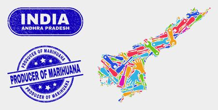 Construction Andhra Pradesh State map and blue Producer of Marihuana scratched seal stamp. Colored vector Andhra Pradesh State map mosaic of workshop elements. Illustration