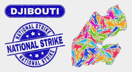 Constructor Djibouti map and blue National Strike distress seal. Colorful vector Djibouti map mosaic of mechanic parts. Blue round National Strike seal.