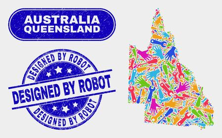 Service Australian Queensland map and blue Designed by Robot textured seal. Colorful vector Australian Queensland map mosaic of industrial units. Blue round Designed by Robot seal.