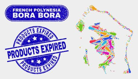 Construction Bora-Bora map and blue Products Expired distress seal stamp. Bright vector Bora-Bora map mosaic of machinery elements. Blue round Products Expired stamp.